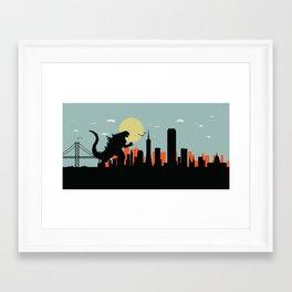 San Francisco skyline Kaiju attack Framed Art Print