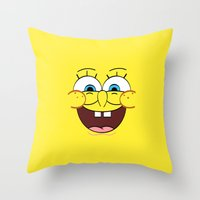 spongebob Throw Pillows featuring Spongebob 1 by Valerie Hoffmann