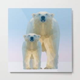 Cute Low poly polar bear with cub Metal Print