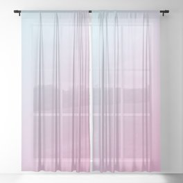 Pastel Light Pale Cyan Blue and Soft Light Pink Gradient Ombré  Sheer Curtain