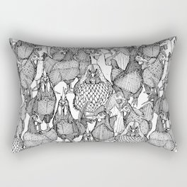 just chickens black white Rectangular Pillow