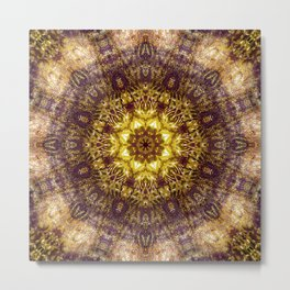 Warm Earth Energy Mandala Metal Print