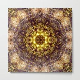 Warm Earth Energy Mandala Metal Print