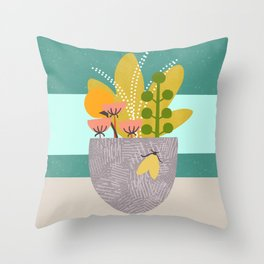 Succulent Garden with Moth Throw Pillow