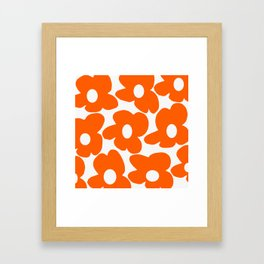 Orange Retro Flowers White Background #decor #society6 #buyart Framed Art Print