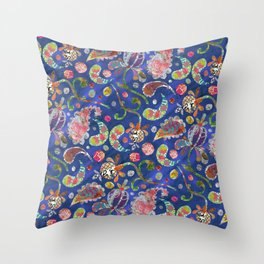 Blue Paisley Collage Throw Pillow