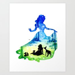 Snow White Double Exposure Forest Art Print
