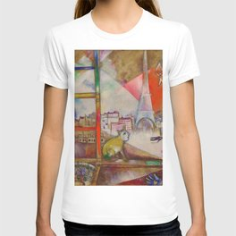 'Paris Through the Window - Eiffel Tower, Seine, & Left Bank' by Marc Chagall T-shirt
