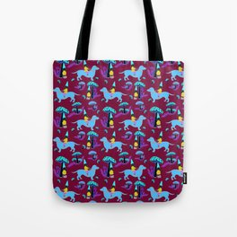 Gnome & Dachshund in Mushroom Land, Teal Background Tote Bag