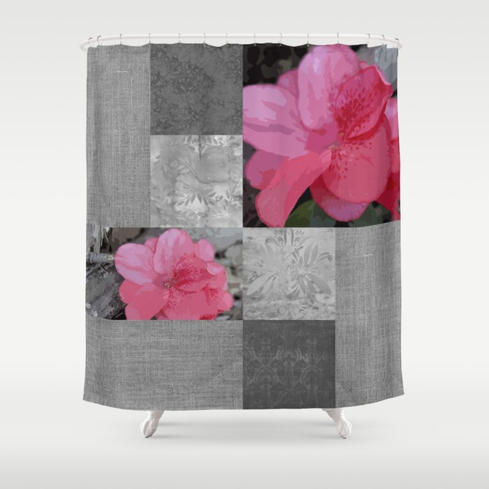 Gray Burlap And Damask With Pink Azaleas