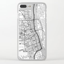 Vintage Map of Albany NY (1895) BW Clear iPhone Case