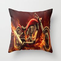motorbike Throw Pillows featuring FIRE MOTORBIKE by Acus