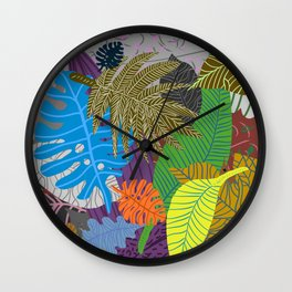 Rainbow Dancing Leaves Wall Clock
