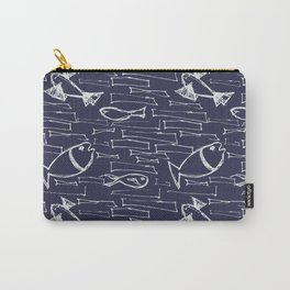 Scribbled urban pattern with fish and wild shapes in dark navy blue and white Carry-All Pouch