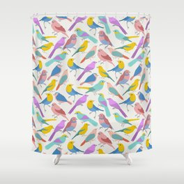 Dazzling Colored Bird Pattern Shower Curtain