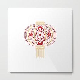 Floral Chinese Lantern Metal Print