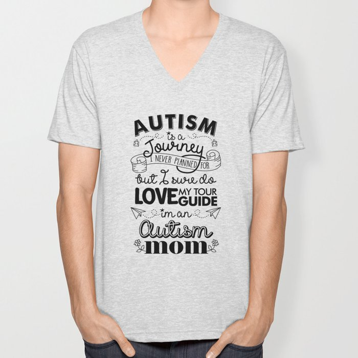 Autism Awareness prints - Autism Is A Journey graphic Unisex V-Neck