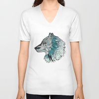 wolves V-neck T-shirts featuring Wolves by Chebhead
