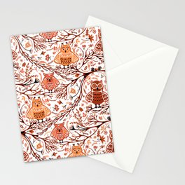 Cute Owls in Fall on Tree Branches Stationery Cards