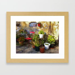 Flowers at Old Wall Framed Art Print