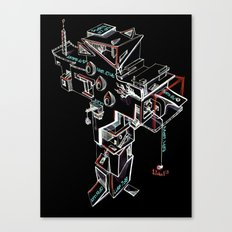 Cross building (black background) Canvas Print