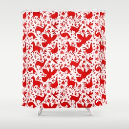 Otomi in red Shower Curtain