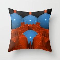 Red Blue Macro Fractal Throw Pillow
