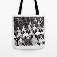 movies Tote Bags featuring The movies by Margarida Esteves