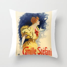 Belle Epoque vintage poster, Camille Stefani Throw Pillow