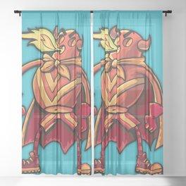 Super hero Flame-man Sheer Curtain