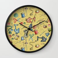 sewing Wall Clocks featuring Sewing tools by Catru