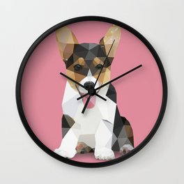 Low Poly Corgi. Wall Clock