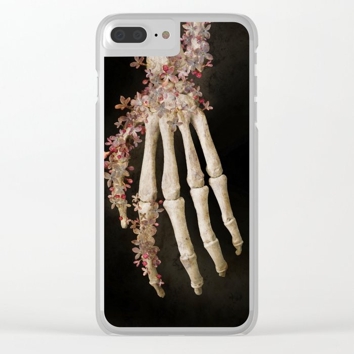 """Spring 1"" skull and flowers Clear iPhone Case"