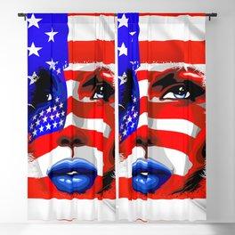 Usa Flag on Girl's Face Blackout Curtain