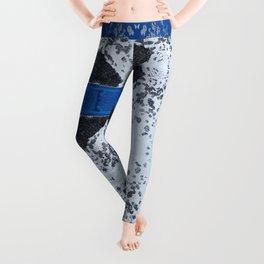 Blue and White Crumbling Leggings
