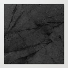 Dark Grey Matte Black Marble Canvas Print