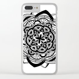 Blossoming black mandala on white (1) Clear iPhone Case