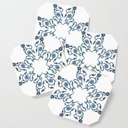 Blue Floral Heart Tile Coaster