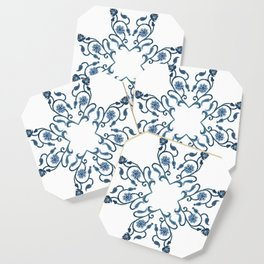Blue Floral Heart Tile Coaster