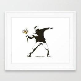 Banksy - Man Throwing Flowers - Antifa vs Police Manifestation Design For Men, Women, Poster Framed Art Print