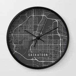 Saskatoon Map, Canada - Gray Wall Clock