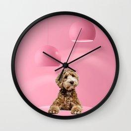 Labradoodle Pastel Color Scene Minimal Collage Wall Clock