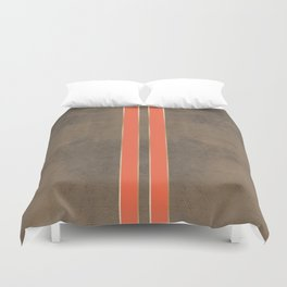 Vintage Hipster Retro Design - Brown Leather with Gold and Orange Stripes Duvet Cover