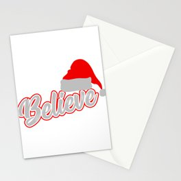 Santa Claus Believer Gift Giving Mission  Santa Hat Believe Christmas T-shirt Design Yuletide Yule Stationery Cards