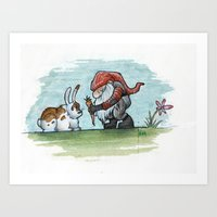 gnome Art Prints featuring Gnome by dedfox