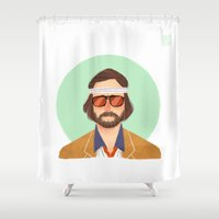tenenbaum Shower Curtains featuring Richie Tenenbaum by Galaxyspeaking