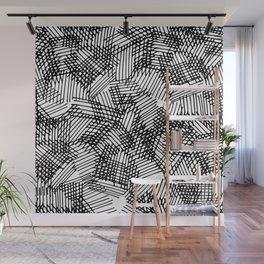 Modern black white pencil hand drawn geometric lines Wall Mural
