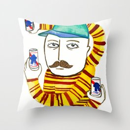 Stripes and Pabst Throw Pillow