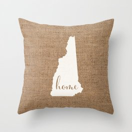 New Hampshire is Home - White on Burlap Throw Pillow