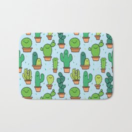 Cute Cactus Cacti Pattern Light Blue Background Bath Mat